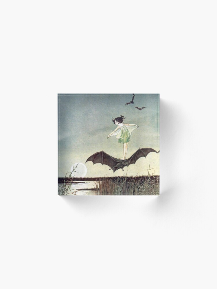 Alternate view of Fairy Girl Riding a Bat - Ida Rentoul Outhwaite Acrylic Block