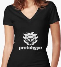 Protohype Logo - White Women's Fitted V-Neck T-Shirt