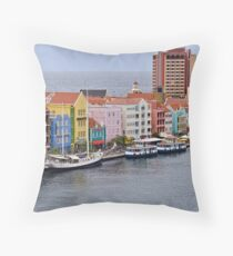 Bordering the Sea in Willemstad, Curacao Throw Pillow