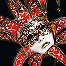 Crimson Carnivale Mask by Karen  Hull
