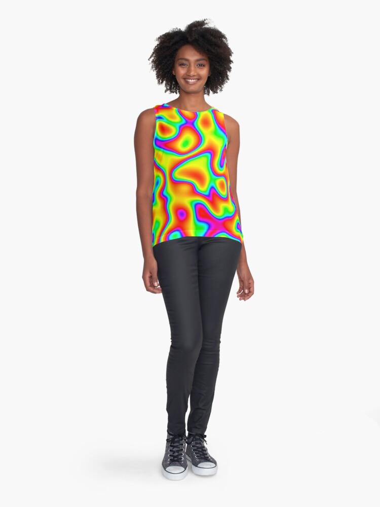 Alternate view of Rainbow Chaos Abstraction Sleeveless Top