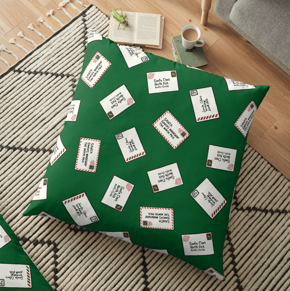 Letters to Santa in Green Floor Pillow