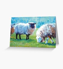 Summer Light - Acrylic Painting of Sheep in Sun Light Greeting Card