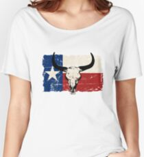 U.S. State Texas Bull Skull Flag - Vintage Look Women's Relaxed Fit T-Shirt