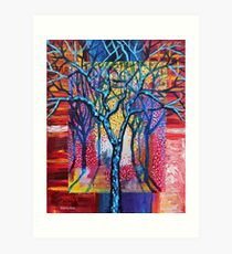 'Blue Trees in an Abstract Forest' Art Print