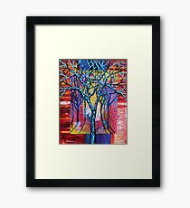 'Blue Trees in an Abstract Forest' Framed Print