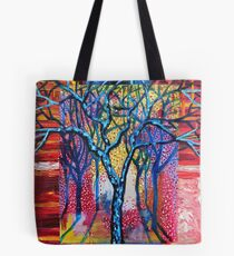 'Blue Trees in an Abstract Forest' Tote Bag