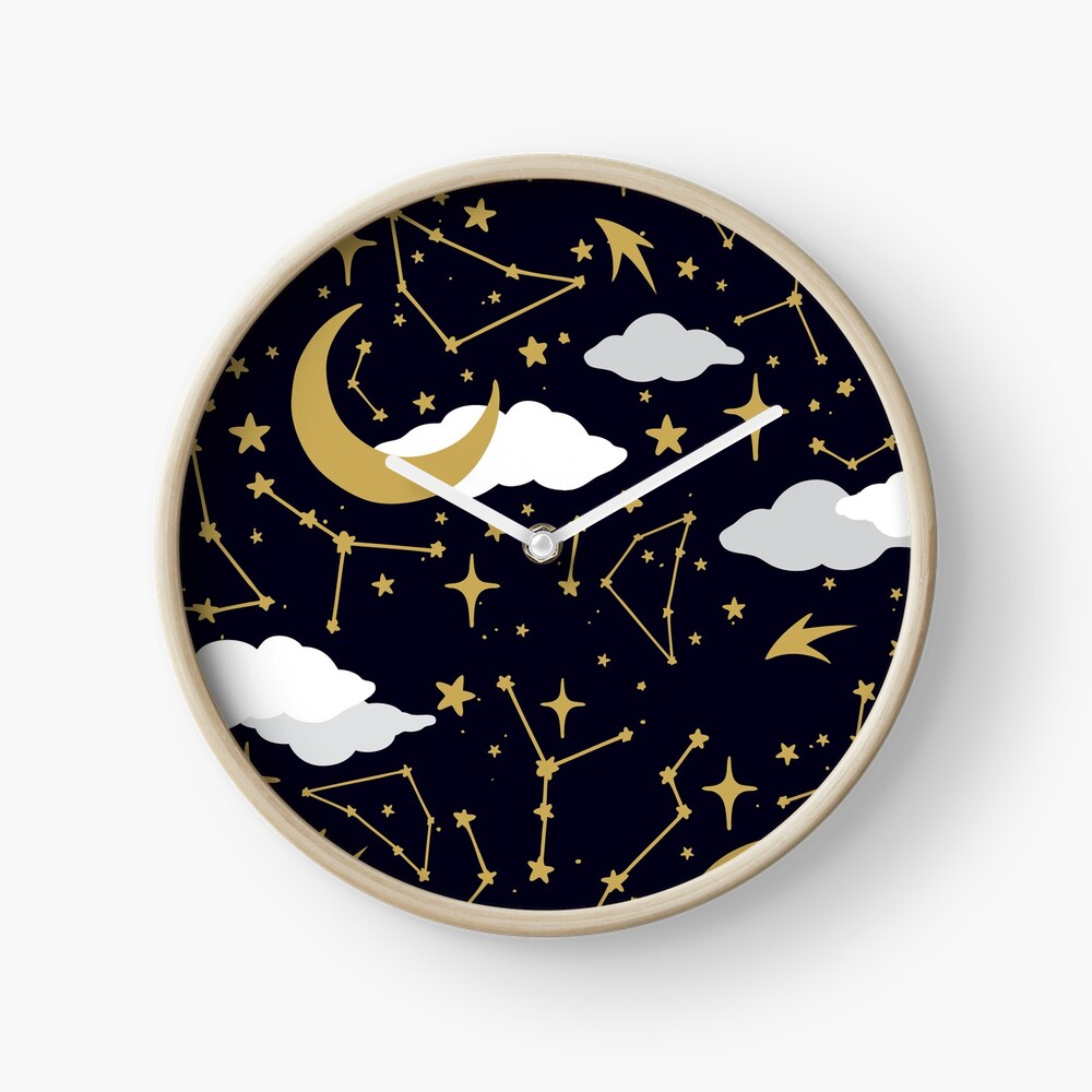 Celestial Stars and Moons in Gold and White Clock