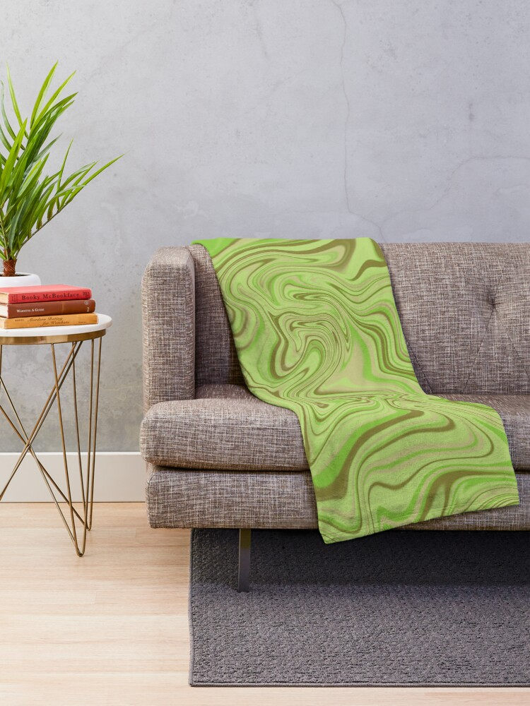 Alternate view of Light Green Abstract Swirl Throw Blanket