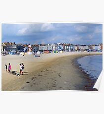 Family at Weymouth Beach. Dorset UK Poster