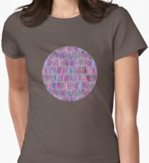 Messy Watercolor Stripes in Pink and Purple Womens Fitted T-Shirt