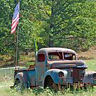 Old Truck and flag by onnibright