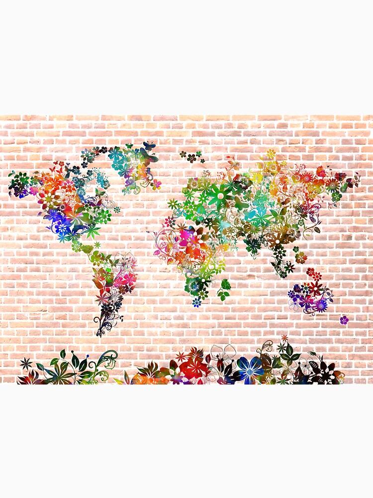 Weltkarte mit Blumen 1 von BekimART
