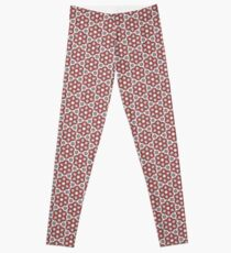 Plush Red Floral Leggings