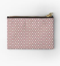 Grey, Red and White Zipper Pouch