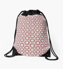 Grey, Red and White Drawstring Bag