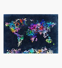 world map floral 2 Photographic Print