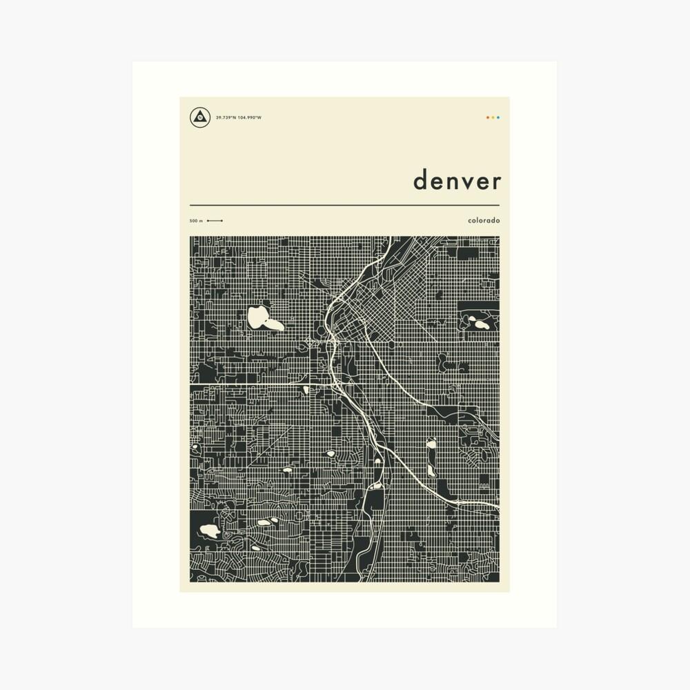 DENVER MAP Art Print