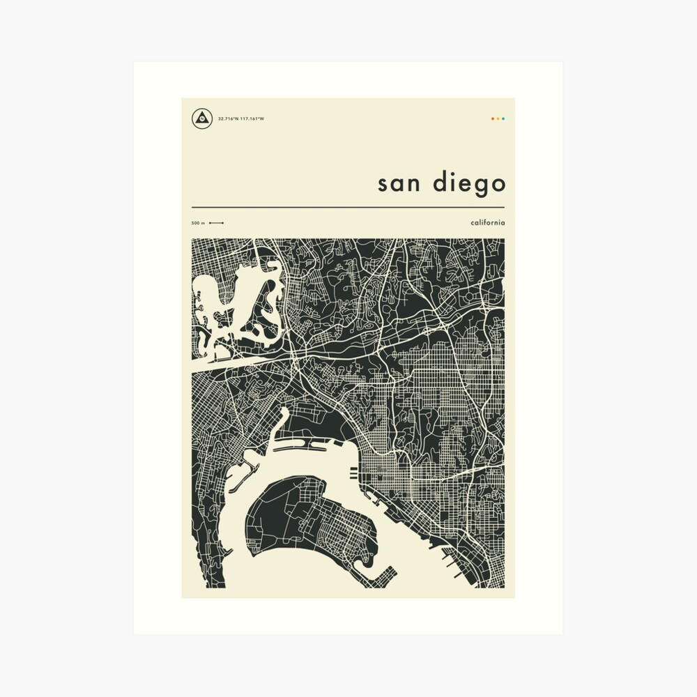 SAN DIEGO MAP Art Print