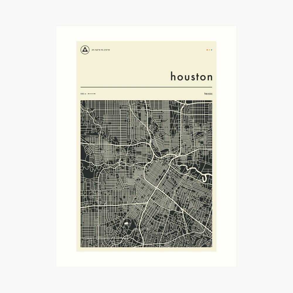 HOUSTON TEXAS MAP Art Print