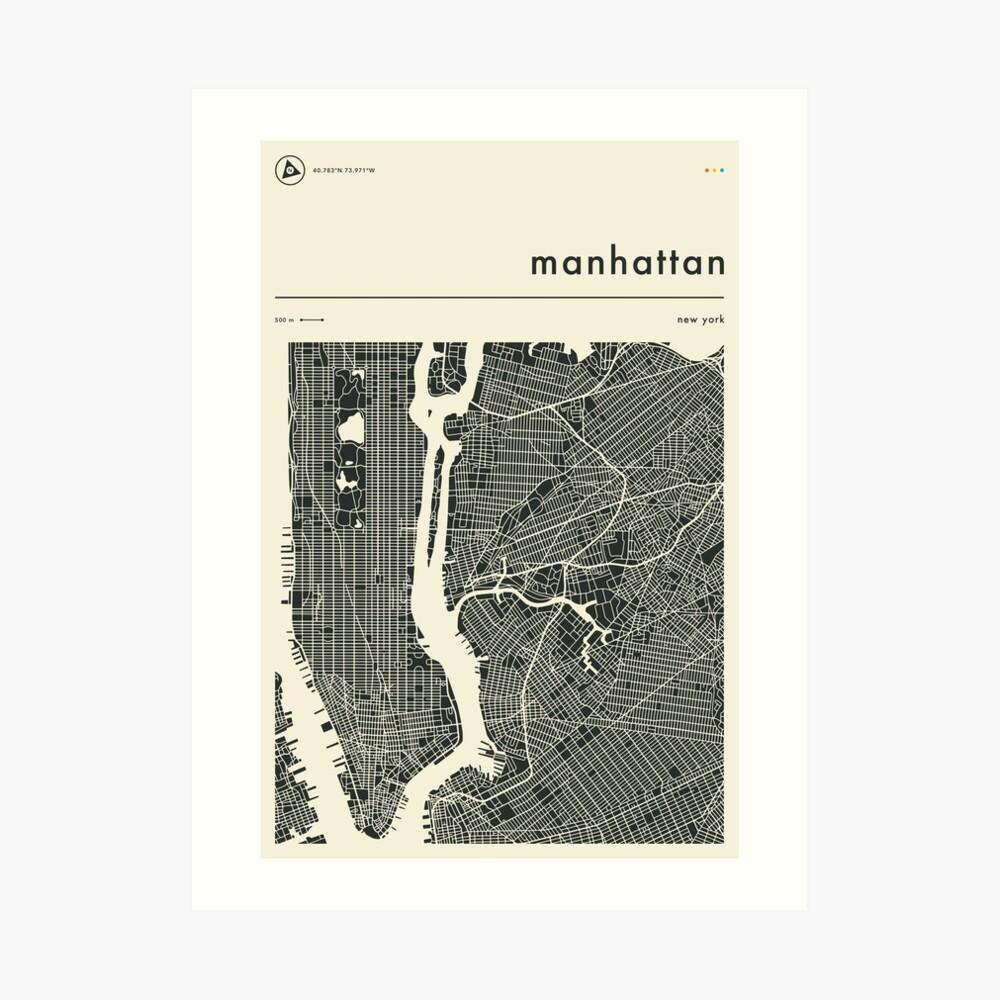 MANHATTAN MAP Art Print