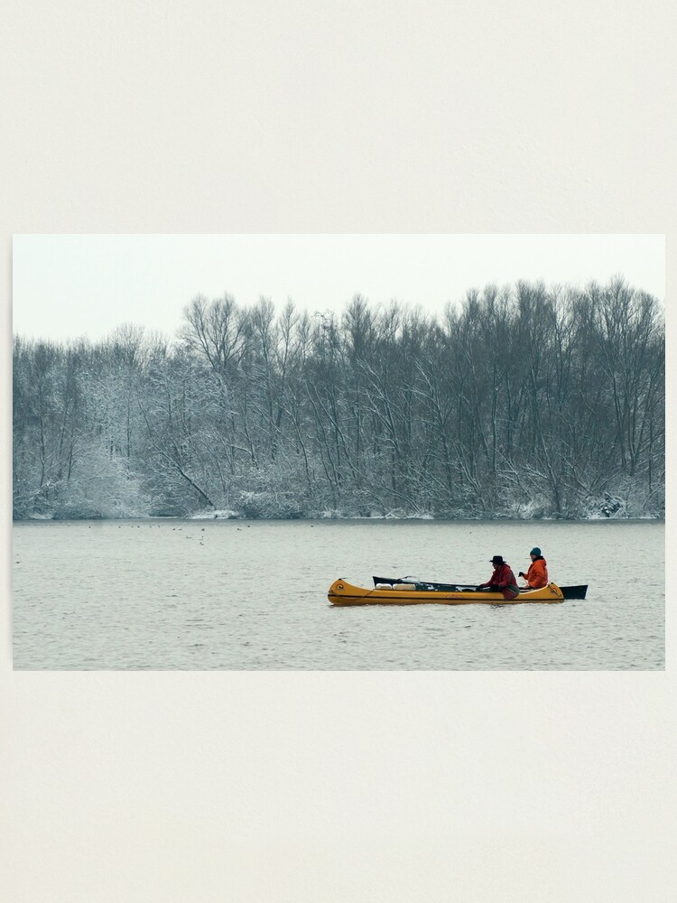 Alternate view of Two canoes on a winter lake Photographic Print
