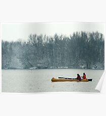 Two canoes on a winter lake Poster