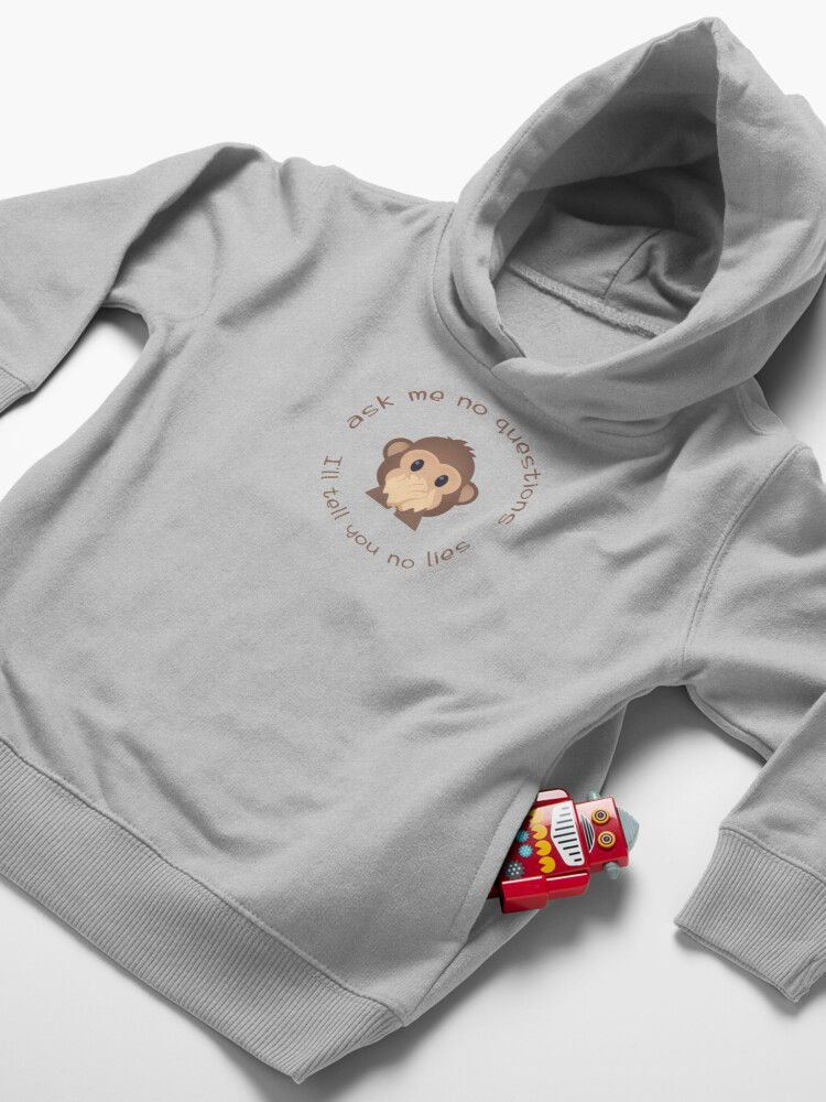 Alternate view of ask me no questions, I'll tell you no lies Toddler Pullover Hoodie