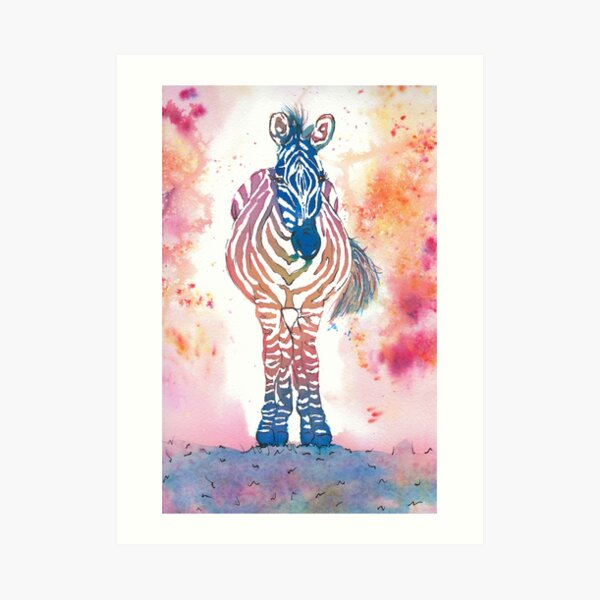 Colourful Zebra watercolour illustration Art Print