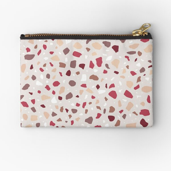 AFE Red And Brown Terrazzo Zipper Pouch