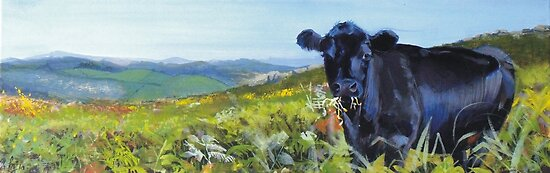 A Lunch Interrupted - Painting of a Dexter Cow by MikeJory