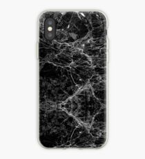Black and White Modern Faux Marble Pattern iPhone Case