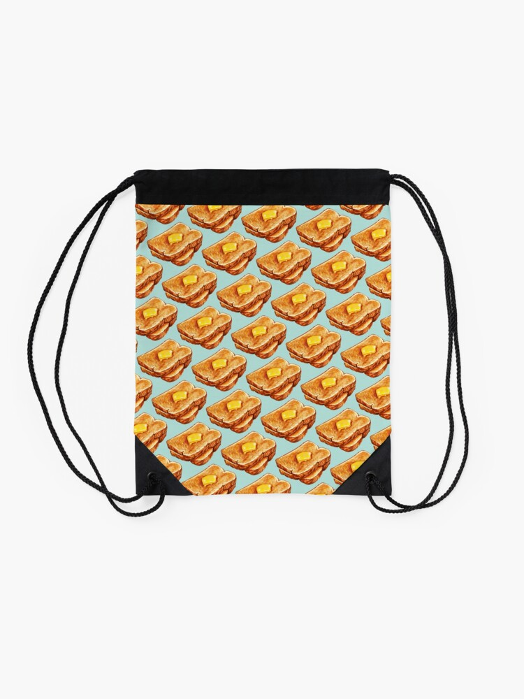 Alternate view of Buttered Toast Pattern Drawstring Bag
