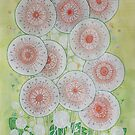 Make a Wish - Contemporary painting of dandelion flowers with green leaves by SJMcDermott