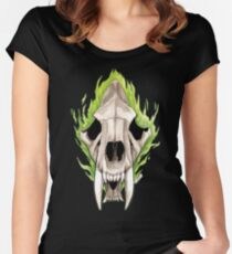 Flaming Skulls - Sabre Toothed Tiger Women's Fitted Scoop T-Shirt