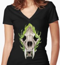 Flaming Skulls - Sabre Toothed Tiger Women's Fitted V-Neck T-Shirt