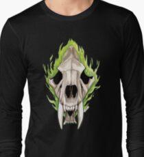 Flaming Skulls - Sabre Toothed Tiger Long Sleeve T-Shirt