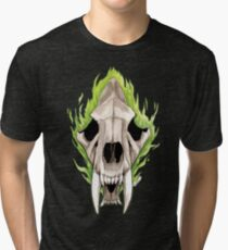 Flaming Skulls - Sabre Toothed Tiger Tri-blend T-Shirt