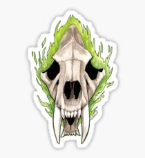 Flaming Skulls - Sabre Toothed Tiger Sticker