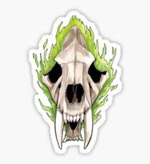 Flaming Skulls - Sabre Toothed Tiger Sticker