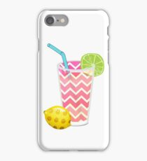Cute Pink Chevron Lemonade with Lime Slice iPhone Case/Skin