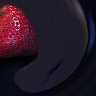 Strawberry in a blue bowl by Sandra Guzman