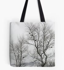 Crows on bare trees in winter Tote Bag