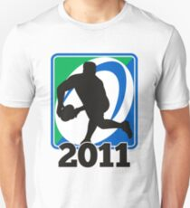 rugby player running passing ball Unisex T-Shirt