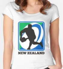 New zealand rugby player passing ball Women's Fitted Scoop T-Shirt