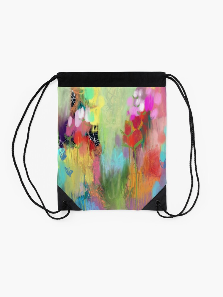 Alternate view of Red Flower Candy Meadow Drawstring Bag