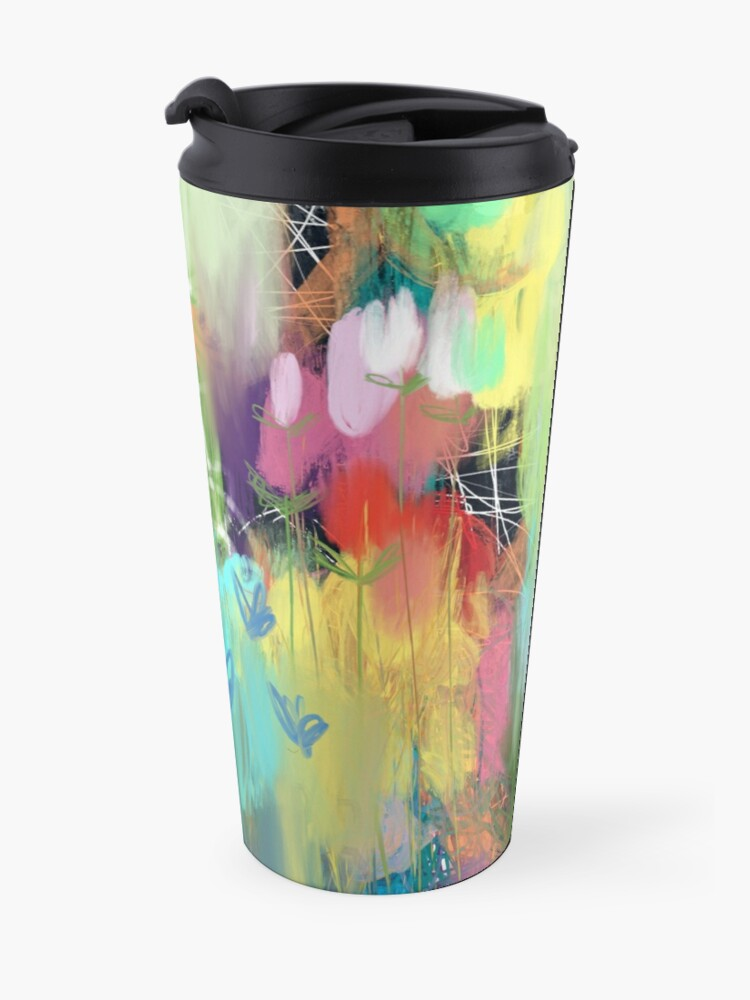 Alternate view of Red Flower Candy Meadow Travel Mug