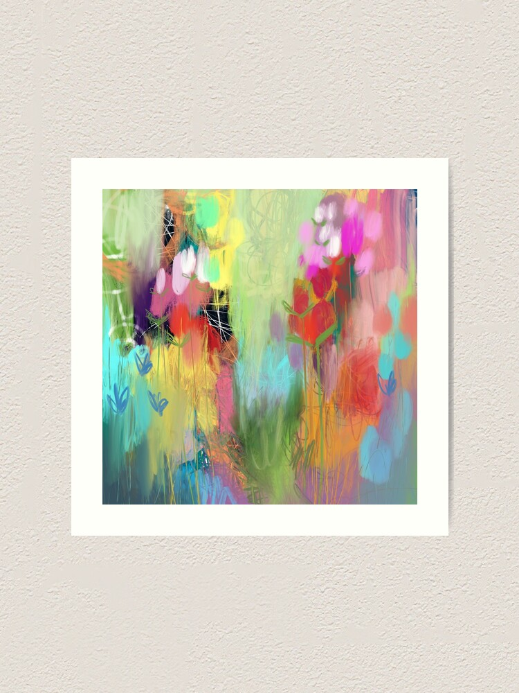 Alternate view of Red Flower Candy Meadow Art Print