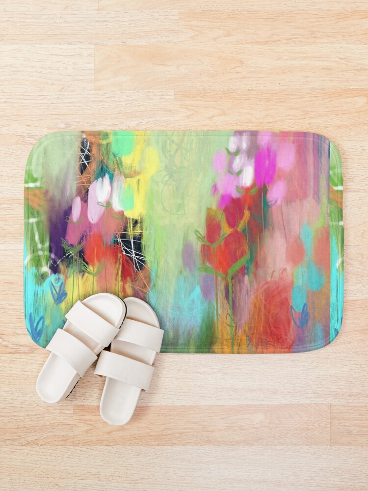 Alternate view of Red Flower Candy Meadow Bath Mat