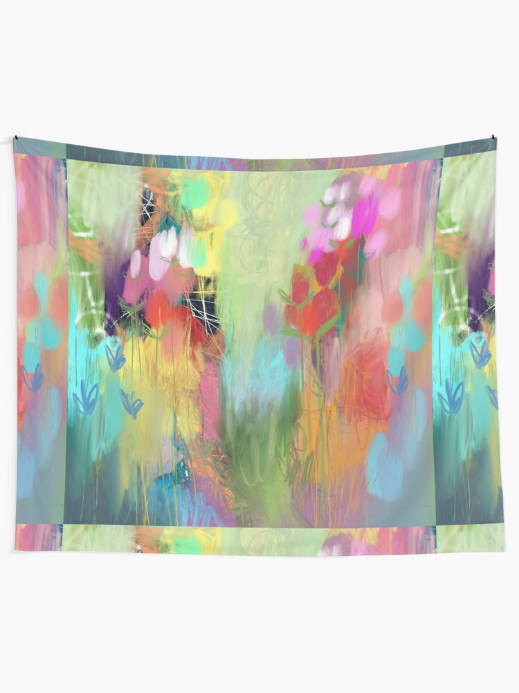 Alternate view of Red Flower Candy Meadow Wall Tapestry